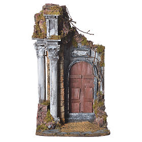 Temple with brown door for nativities, 20x20x40cm s1