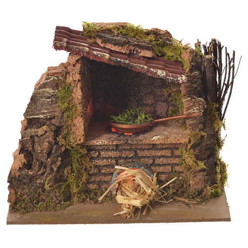 Nativity kitchen with pan in oven measuring 12x14x10cm 1