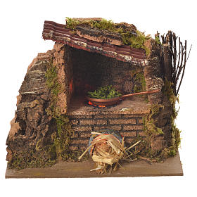Nativity kitchen with pan in oven measuring 12x14x10cm s1