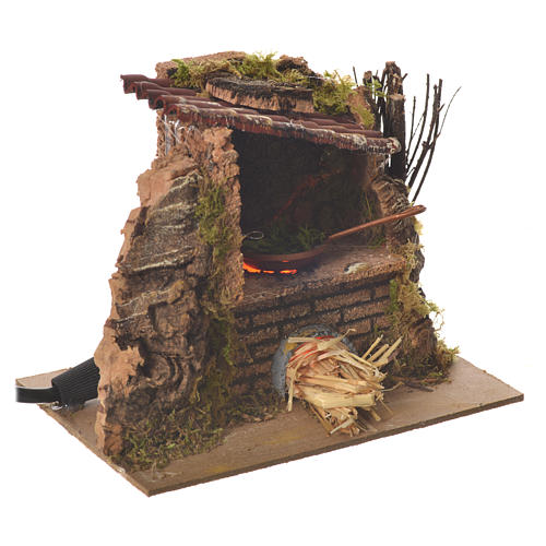 Nativity kitchen with pan in oven measuring 12x14x10cm 2