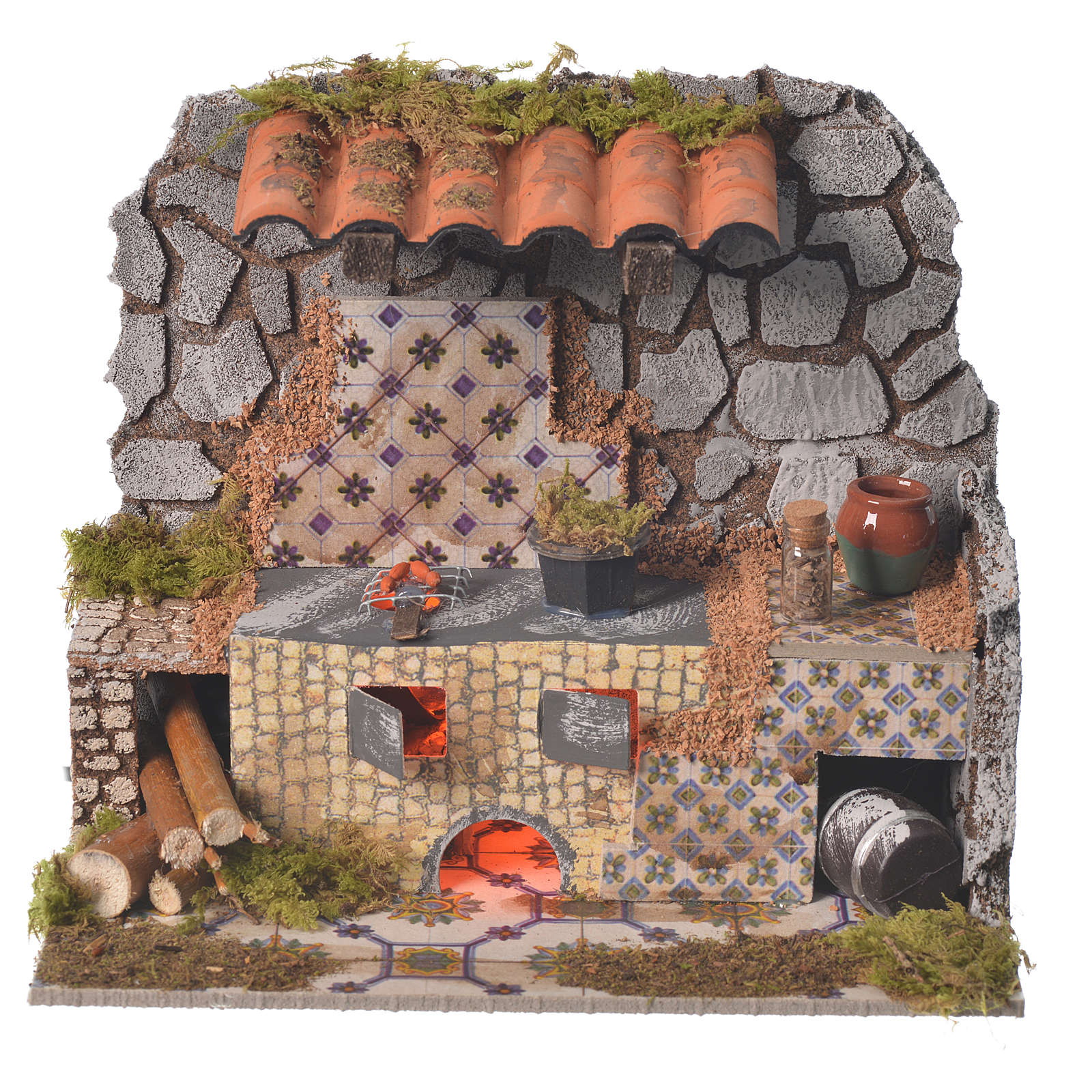 Nativity kitchen with flame effect lamp measuring 14x20x7cm 4