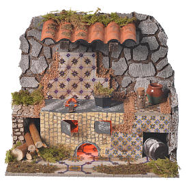 Fireplaces and ovens: Nativity kitchen with flame effect lamp measuring 14x20x7cm