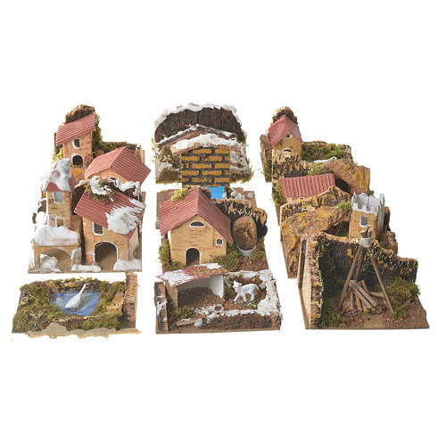 Set of 12 houses with setting for nativities, 6x10x6cm 1