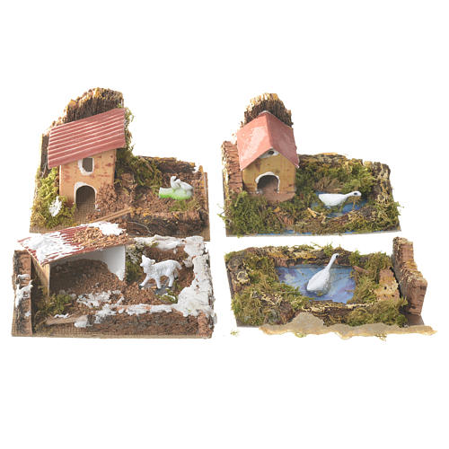 Set of 12 houses with setting for nativities, 6x10x6cm 3