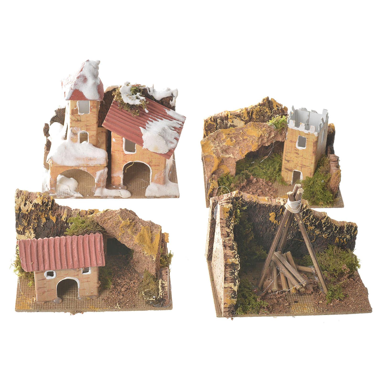 Zestaw 12 domków w otoczeniu do szopki 6x10x6 cm 4