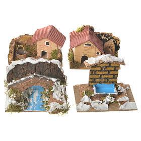 Zestaw 12 domków w otoczeniu do szopki 6x10x6 cm s2
