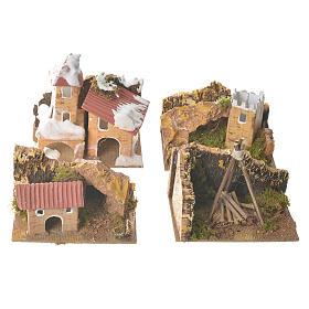 Zestaw 12 domków w otoczeniu do szopki 6x10x6 cm s4