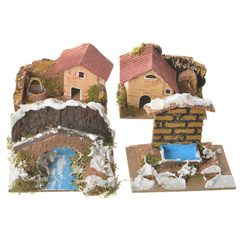 Zestaw 12 domków w otoczeniu do szopki 6x10x6 cm 2