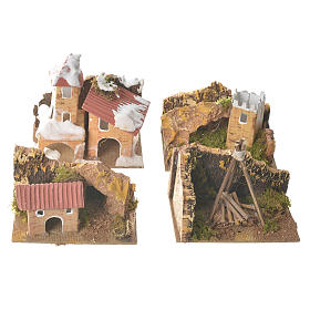 Set of 12 houses with setting for nativities, 6x10x6cm s4