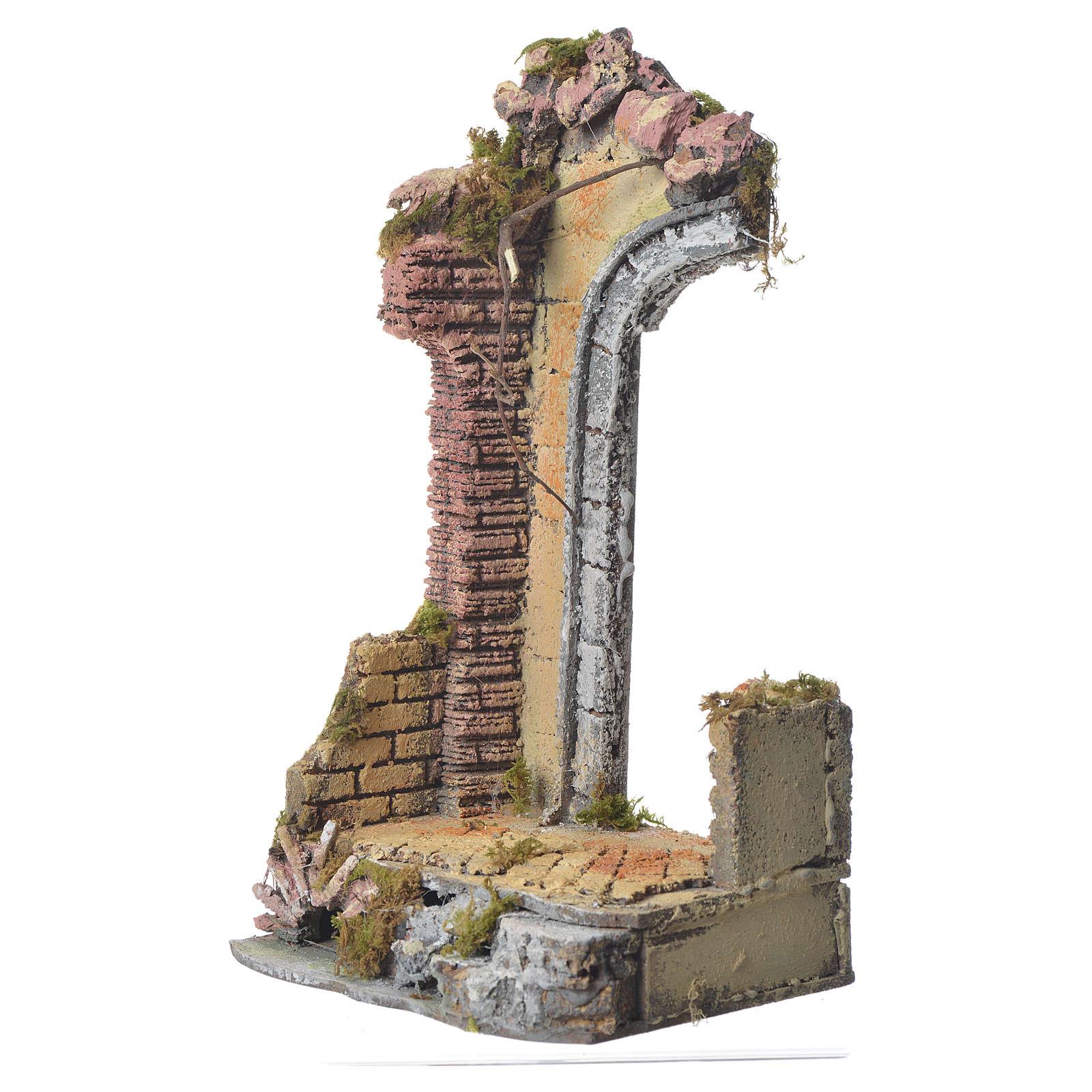 Tempio antico mezzo arco presepe 30x15x12 cm 4