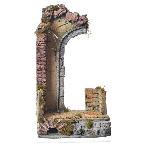 Tempio antico mezzo arco presepe 30x15x12 cm 1