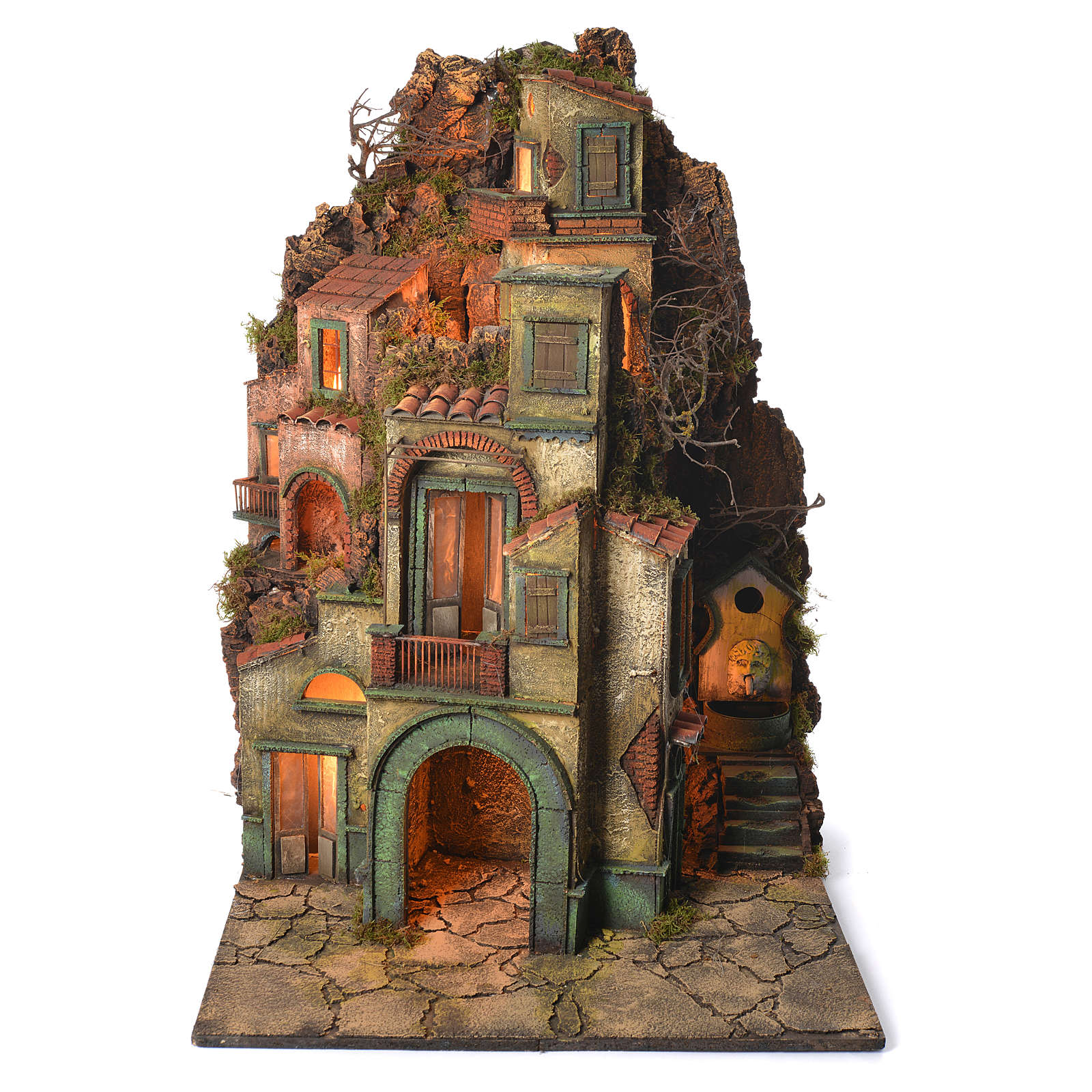 Borgo con fontana presepe napoletano 90x60x60 4