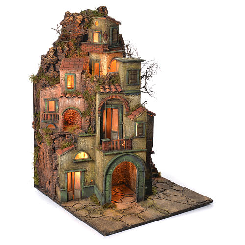 Borgo con fontana presepe napoletano 90x60x60 2