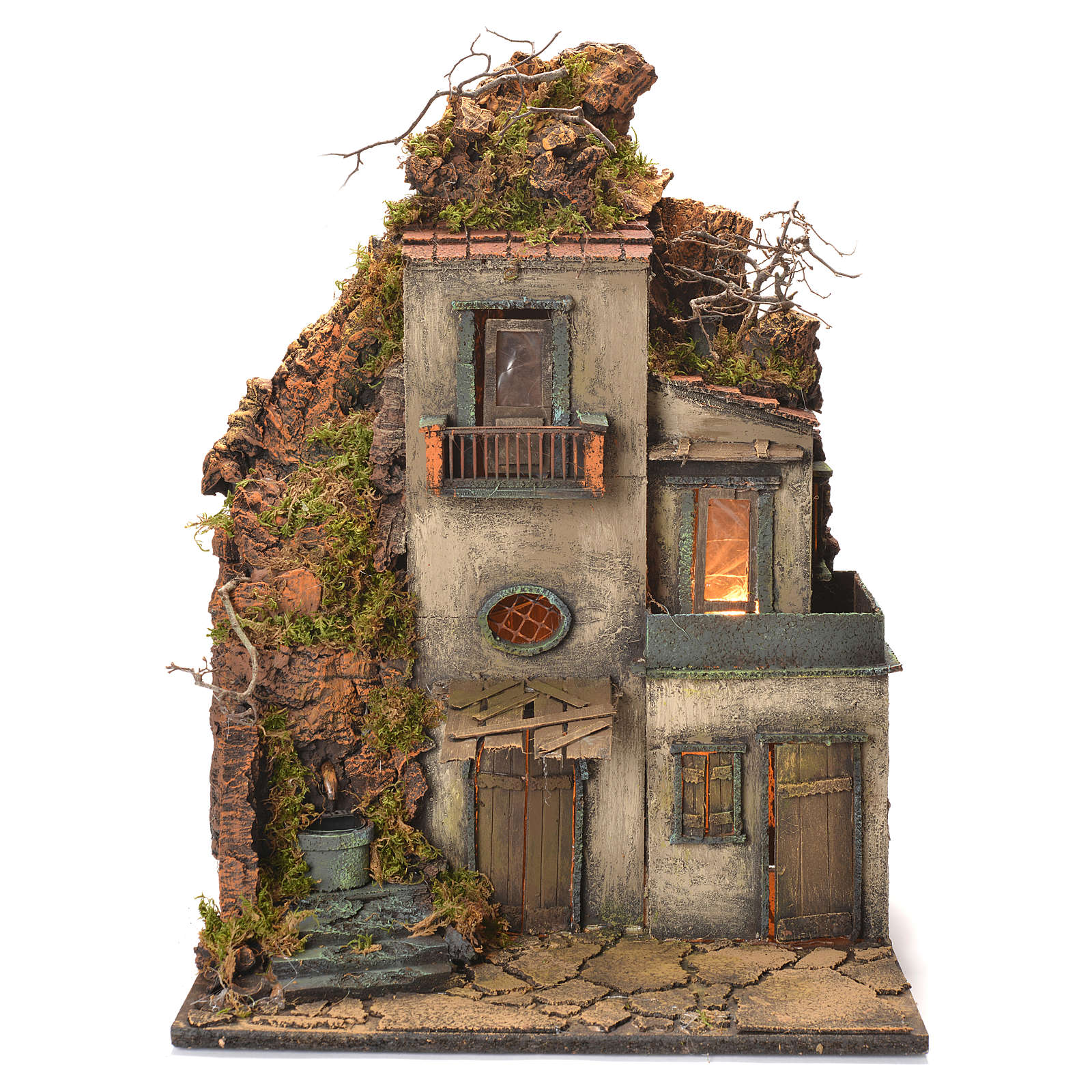 Neapolitan Nativity Village, with fountain and stairs 60x40x30cm 4
