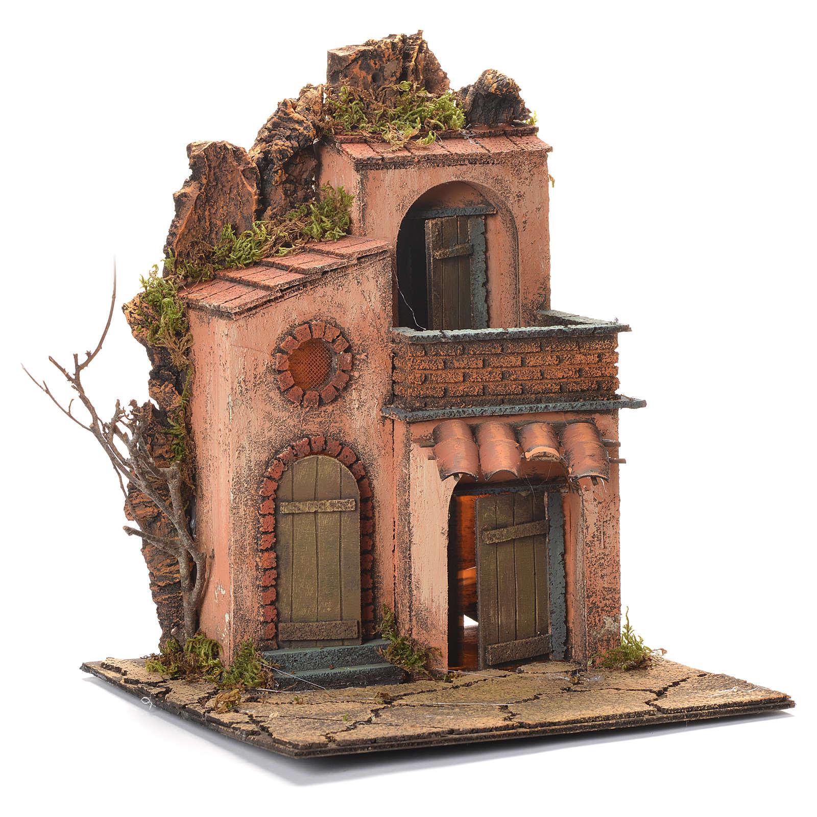 Village avec petit balcon crèche napolitaine 36x30x30 cm 4