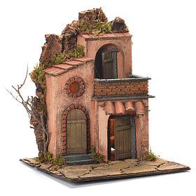 Village avec petit balcon crèche napolitaine 36x30x30 cm s2