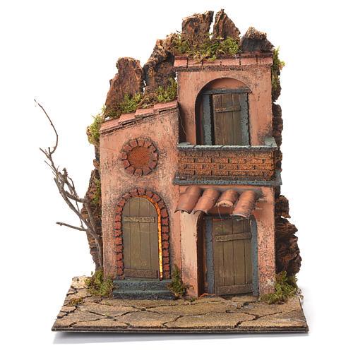 Village avec petit balcon crèche napolitaine 36x30x30 cm 1