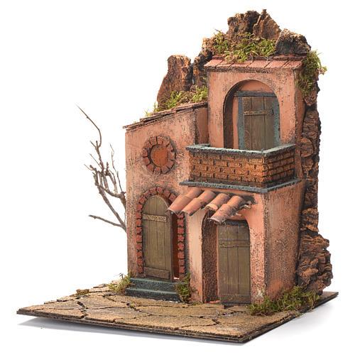 Village avec petit balcon crèche napolitaine 36x30x30 cm 3