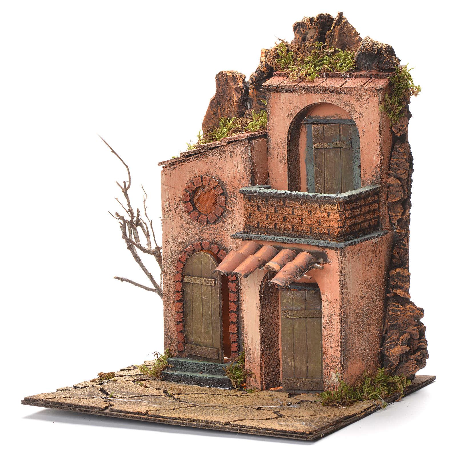 Borgo con balconcino presepe Napoli 36x30x30 4