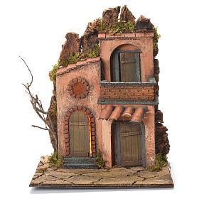 Borgo con balconcino presepe Napoli 36x30x30 s1