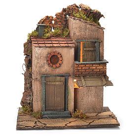 Borgo con balconcino e tegole presepe Napoli 30X30X30 cm s1