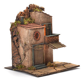 Borgo con balconcino e tegole presepe Napoli 30X30X30 cm s2