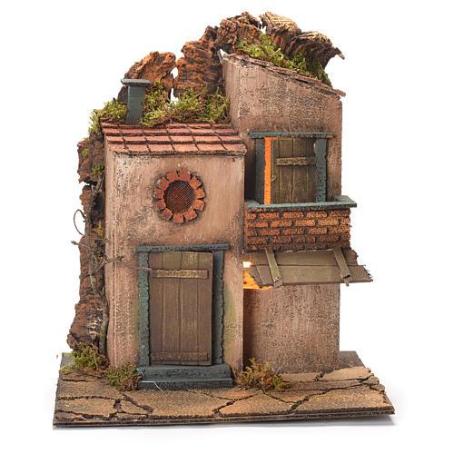 Borgo con balconcino e tegole presepe Napoli 30X30X30 cm 1
