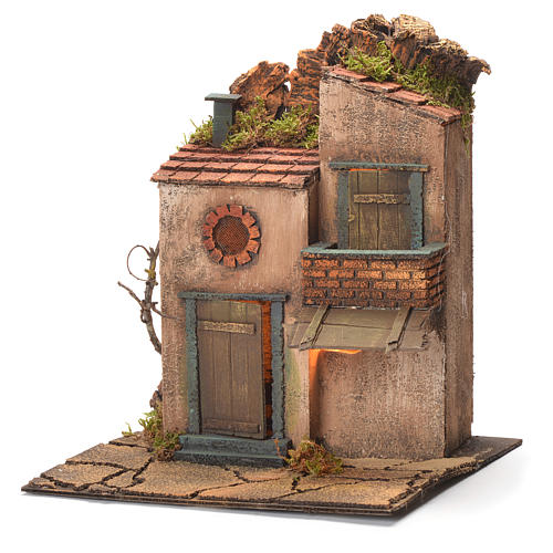 Borgo con balconcino e tegole presepe Napoli 30X30X30 cm 3