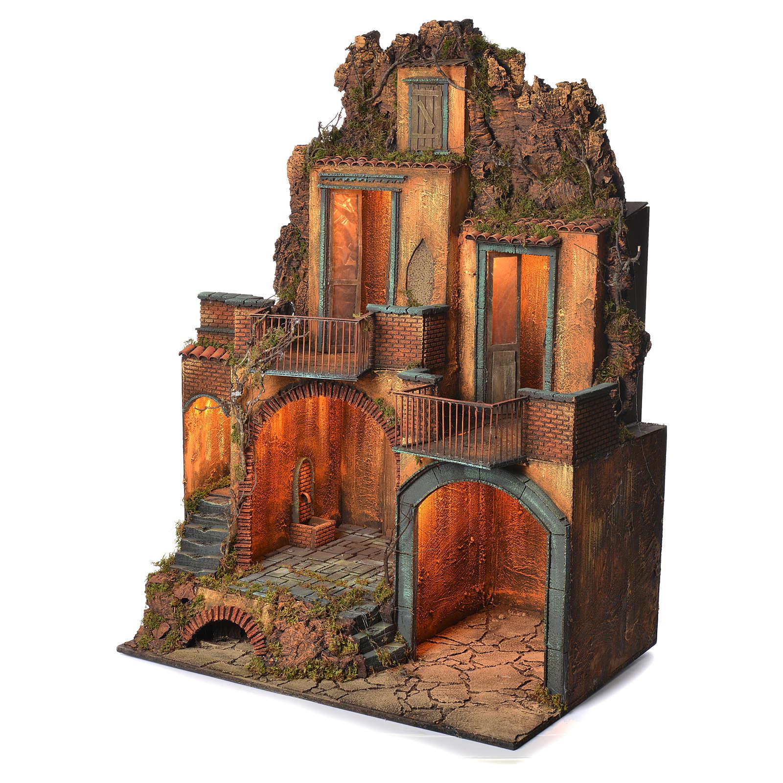 Borgo completo con grotta presepe Napoli 110x80x60 4