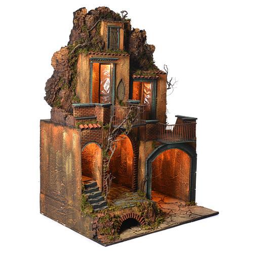 Borgo completo con grotta presepe Napoli 110x80x60 2
