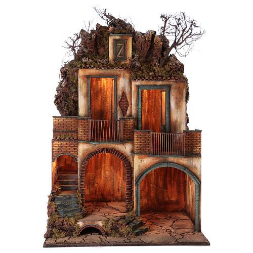 Borgo completo con grotta presepe Napoli 110x80x60 1