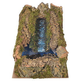 Nativity setting, stream with water pump 27x28x33cm s1