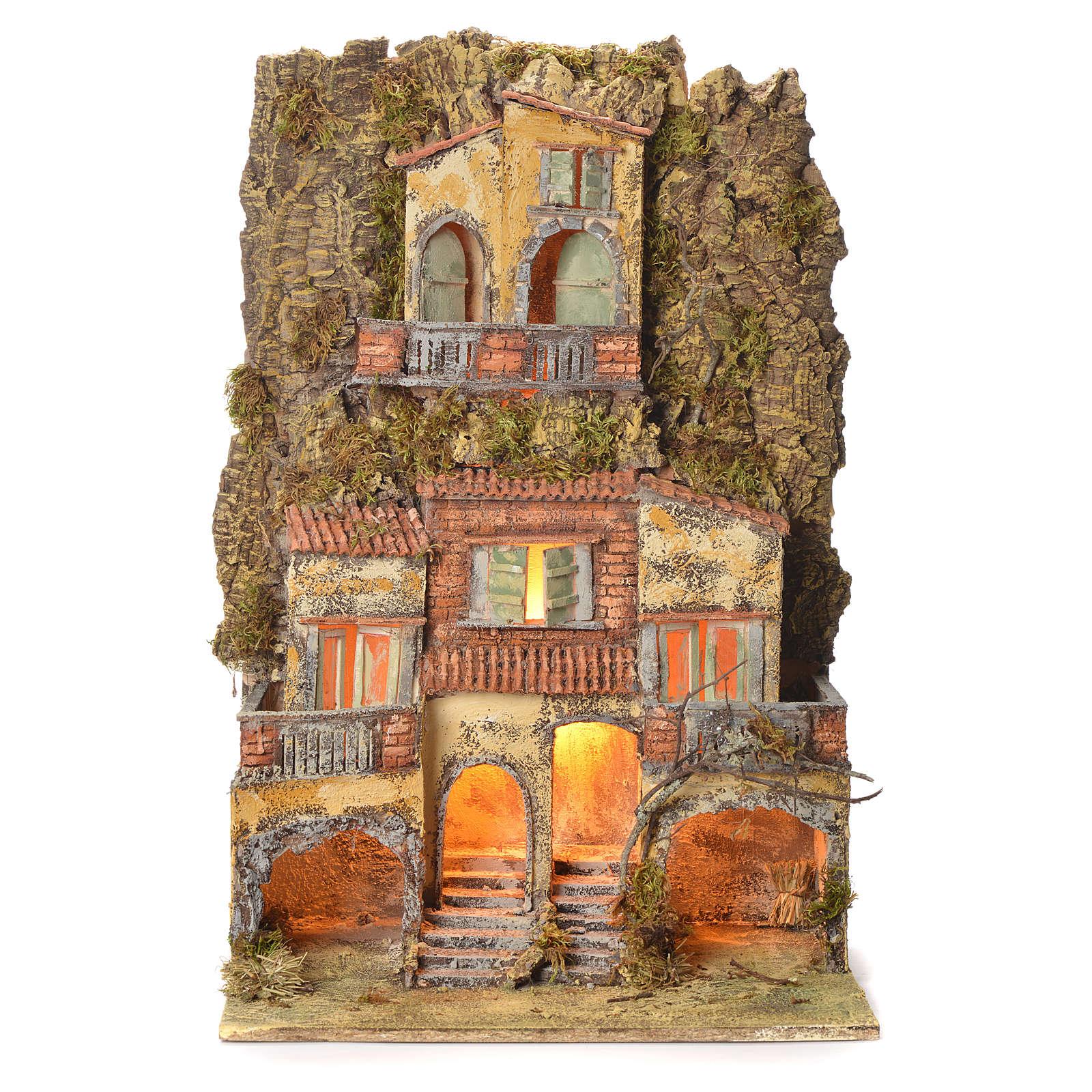 Borgo presepe napoletano 75X45X35 per statue 6/8 cm 4