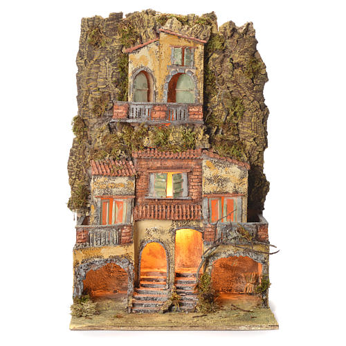 Borgo presepe napoletano 75X45X35 per statue 6/8 cm 1