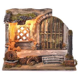 Neapolitan Nativity Scene: Neapolitan Nativity 45x60x35cm Village and fountain for 14cm