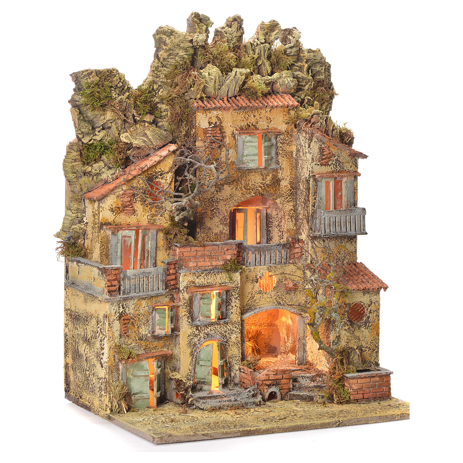 Borgo presepe napoletano con fontana 65X45X35 cm 4