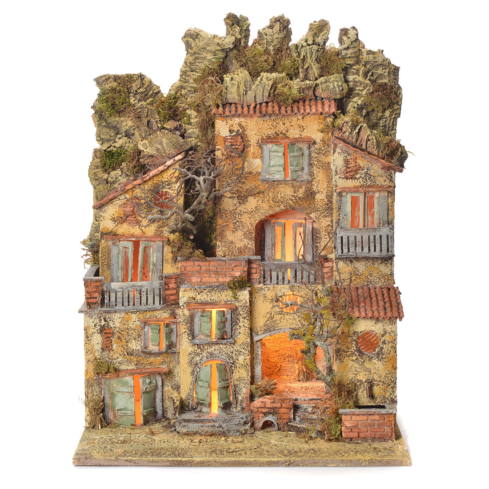 Neapolitan Nativity village with fountain 65x45x35, for 10cm 4