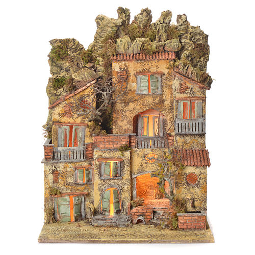 Neapolitan Nativity village with fountain 65x45x35, for 10cm 1