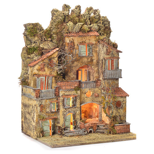 Neapolitan Nativity village with fountain 65x45x35, for 10cm 2