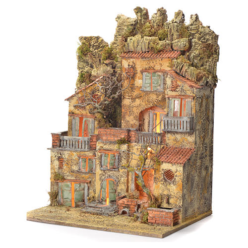 Neapolitan Nativity village with fountain 65x45x35, for 10cm 3
