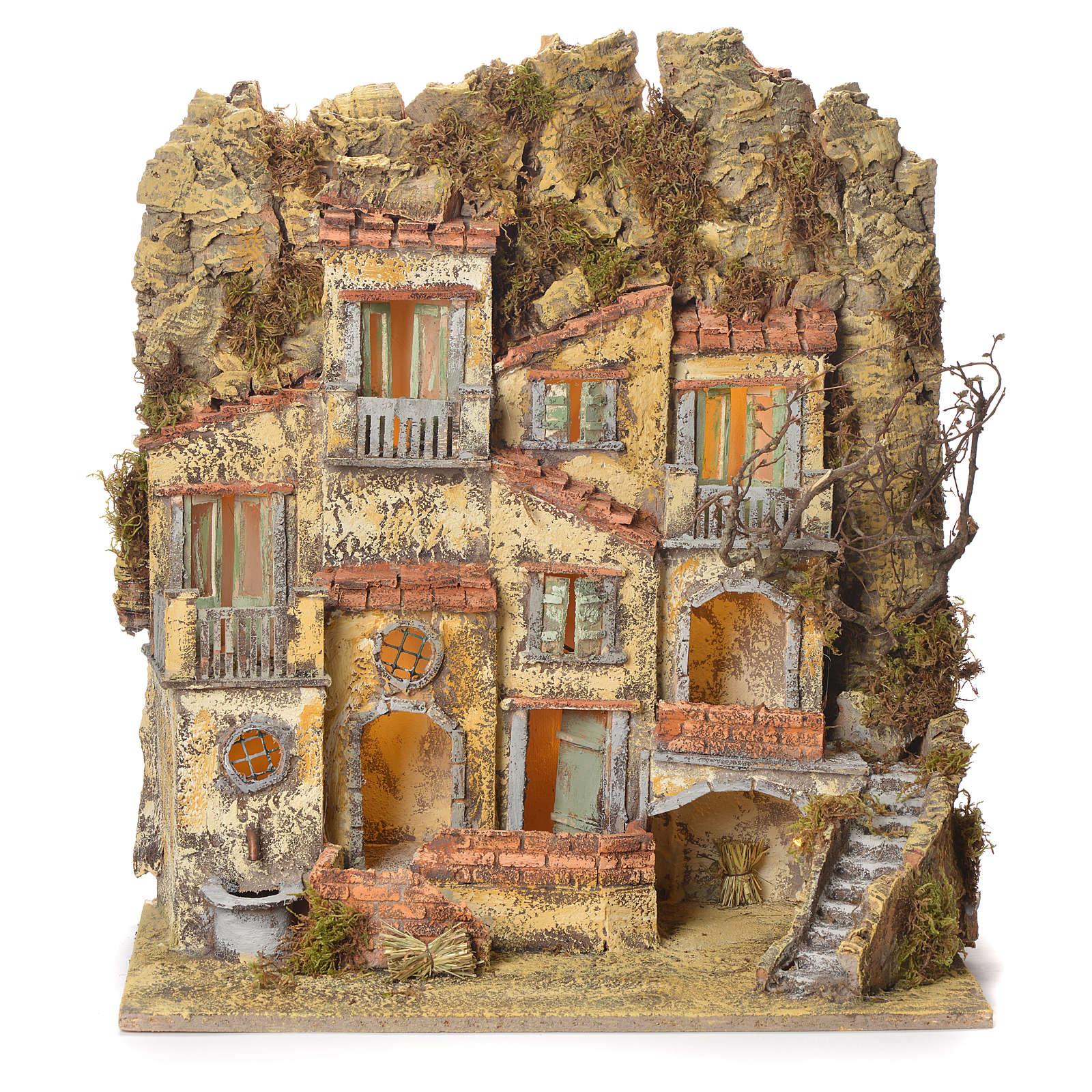 Borgo presepe napoletano con fontana elettrica 45X50X30 4