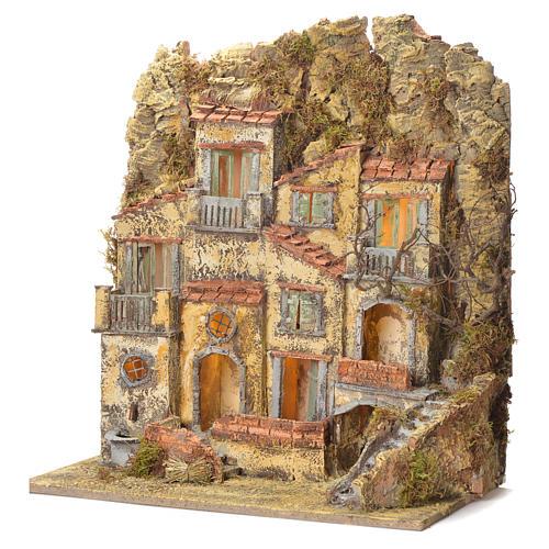Borgo presepe napoletano con fontana elettrica 45X50X30 3
