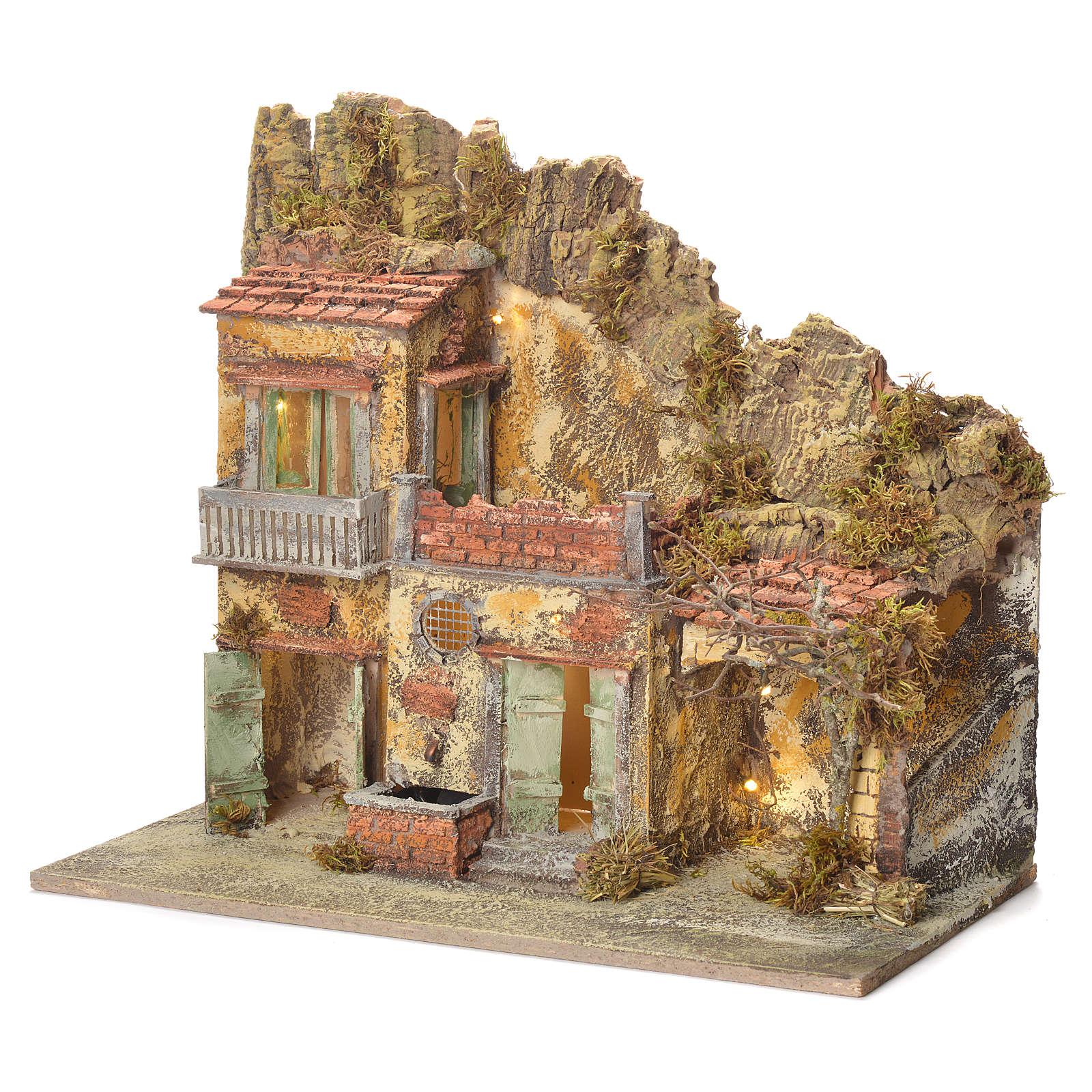 Pueblo presebre napoletano con fuente 45x50x30cm para figuras de 8/10 cm 4