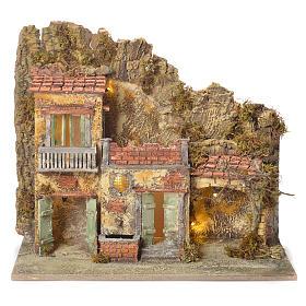 Pueblo presebre napoletano con fuente 45x50x30cm para figuras de 8/10 cm s1