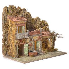 Pueblo presebre napoletano con fuente 45x50x30cm para figuras de 8/10 cm s2