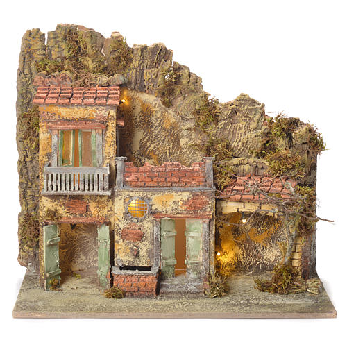 Pueblo presebre napoletano con fuente 45x50x30cm para figuras de 8/10 cm 1