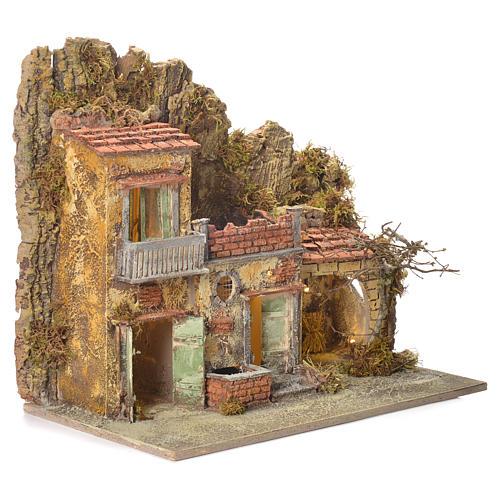 Pueblo presebre napoletano con fuente 45x50x30cm para figuras de 8/10 cm 2