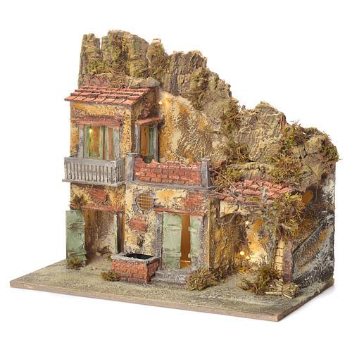 Pueblo presebre napoletano con fuente 45x50x30cm para figuras de 8/10 cm 3