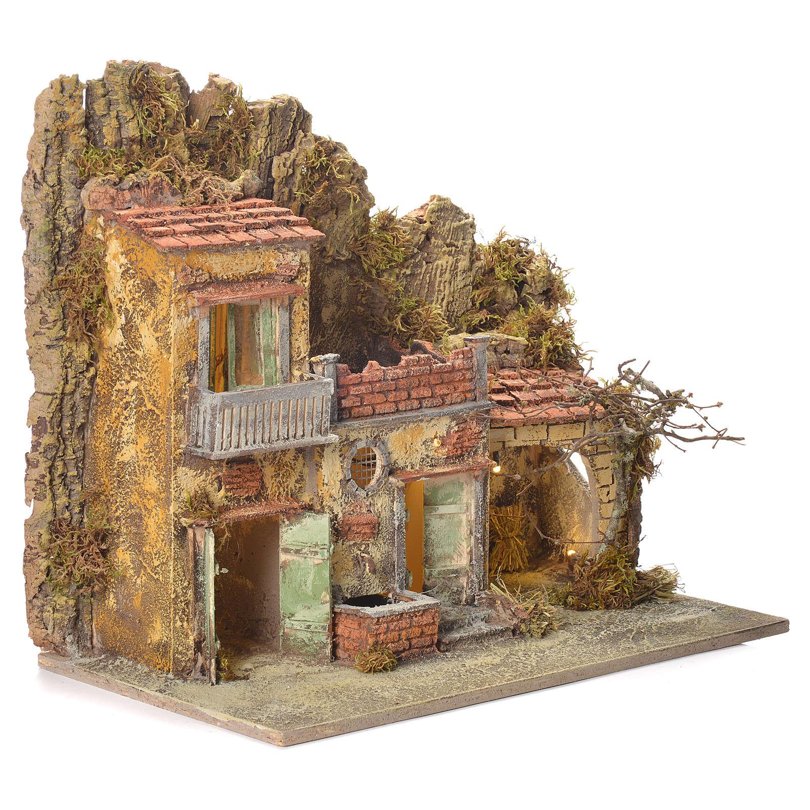 Neapolitan Nativity village with fountain measuring 45x50x30cm 4