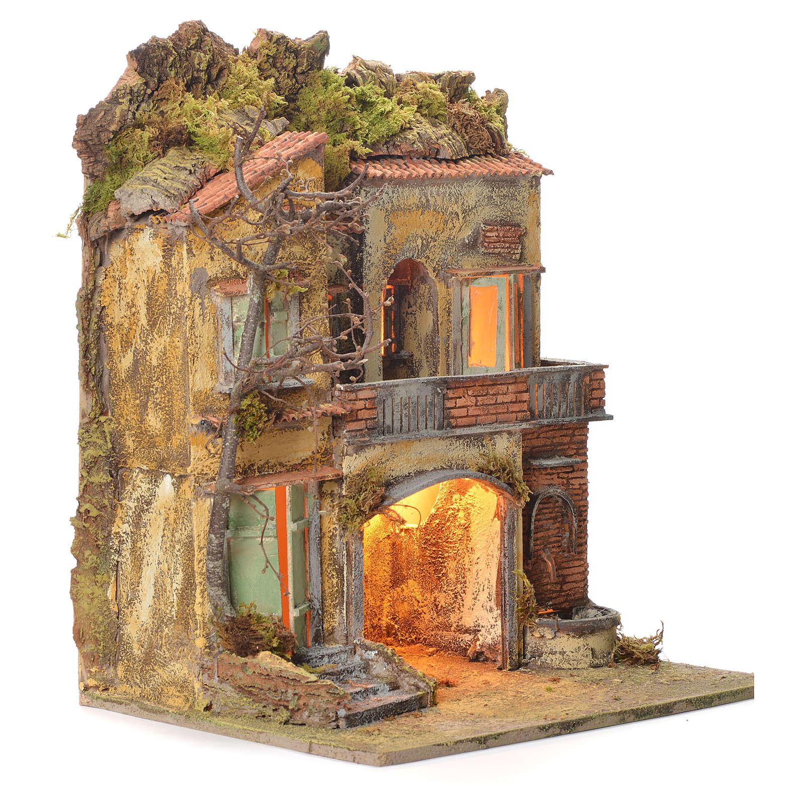 Village de crèche et fontaine 65x45x35 cm santons 10 cm 4